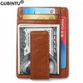 Men Genuine Leather Magnetic Front Pocket Money Clip Wallet RFID Blocking Credit Card