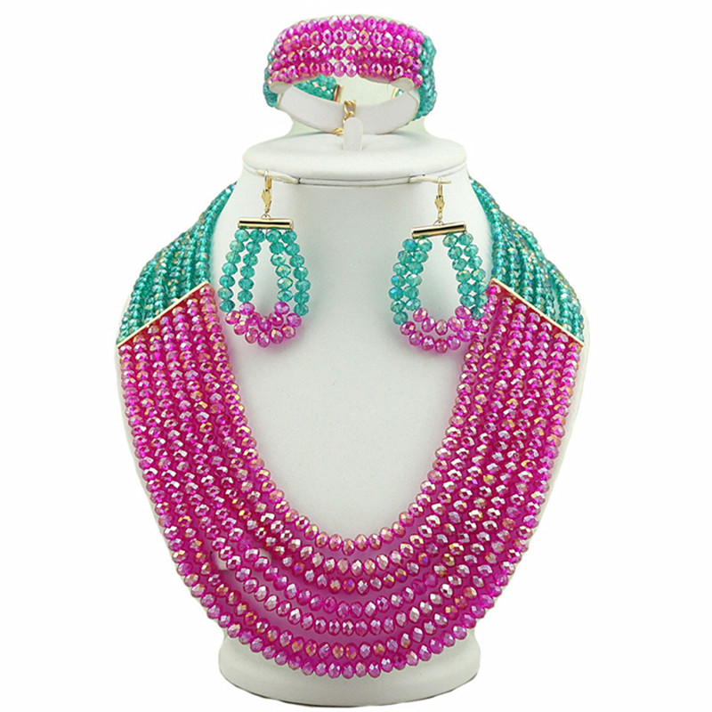 bridal jewelry set african big  jewelry sets wedding  jewellery women crystal necklace pink colour