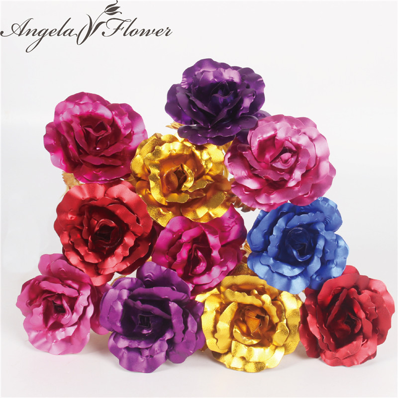 Us 12 29 41 Off 11pcs Lot Artificial Gold Rose Creative Foil Paper Flower High End Luxury 6 Colors Wedding Decoration For Home Christmas Gift In