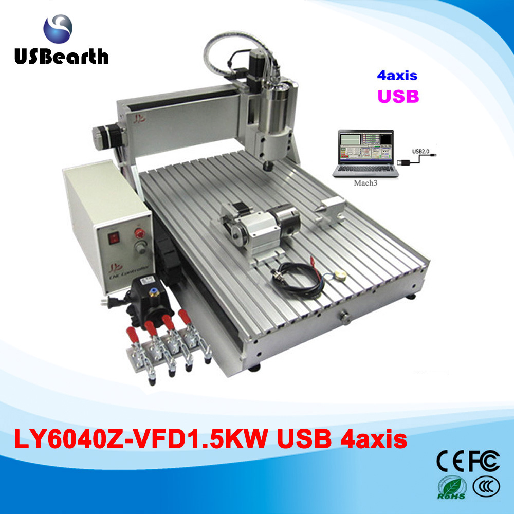 4 axes USB port cnc router 600*400mm engraving area with 1.5kw spindle motor, assembled machine for metal wood cutting hot selling small equipment business with stepper motor cnc router 600 900mm 600 400mm