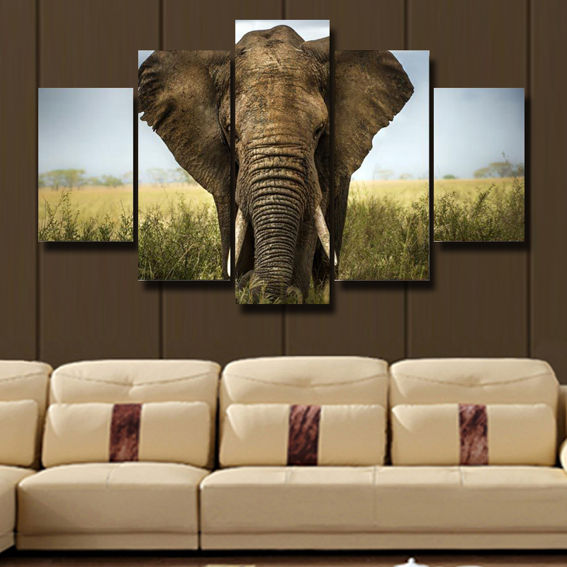 5P Canvas Print Living Room Decoration HD Poster Picture Art Wall Modern Paintings Theme Africa Elephant No Framed In Painting Calligraphy From