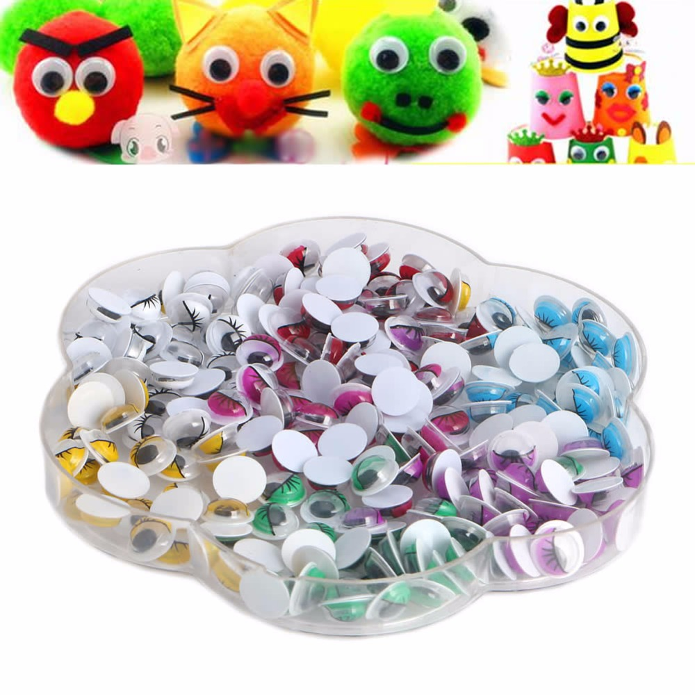 2017 Cute   Mix Color Eyelashes Wiggly Wobbly Googly Eyes Scrapbooking Crafts 8mm  210pcs APR25_17 цены онлайн