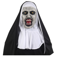 Sacry Nun Mask Town Halloween Fancy Dress for Women,Horror Nun Costume Zombie Outfit Female with Veil Black Plus Size Deadpiece