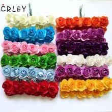 CRLEY 12pcs mini miniature rose flower artificial wedding decoration DIY wreath Scrapbooking Craft fake flowers