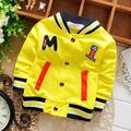 2017 New Spring Autumn Fashion baby kids Boys Letter M embroidered o-neck BaseballCardigan Coat Children Outwear 1384