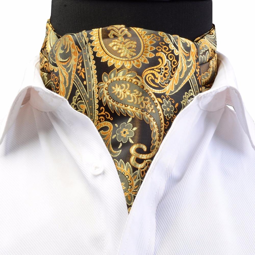 GUSLESON Luxury Men's Ascot Vintage Paisley Floral Jacquard Woven Silk Tie Self Cravat Necktie Scrunch British Style Gentleman