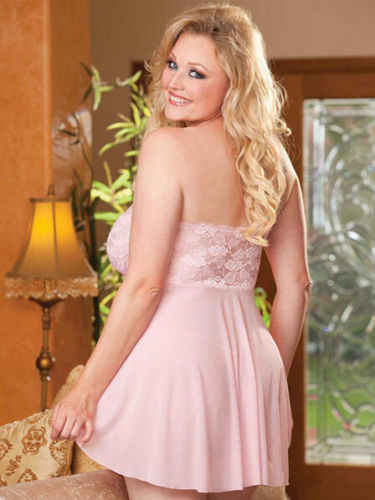 מכירה לוהטת בתוספת גודל נשים אדום Stapless Bowknot תחרת שמלת Babydoll הלבשת מיני כותונת