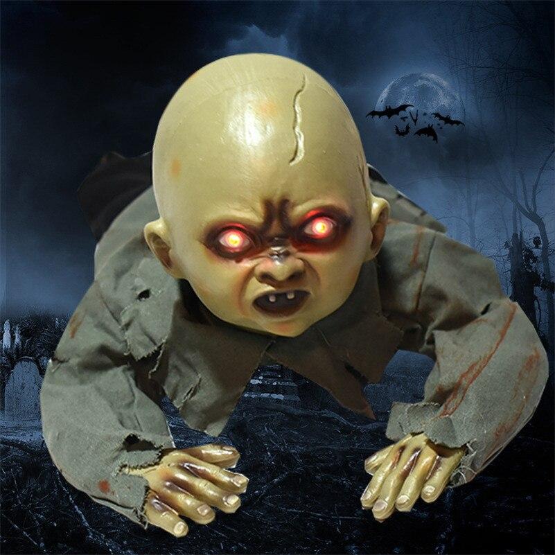Effrayant bébé fantôme poupée effrayant yeux fantôme ramper crâne squelette hanté maison Prop pour Bar Yard jardin maison Halloween décoration