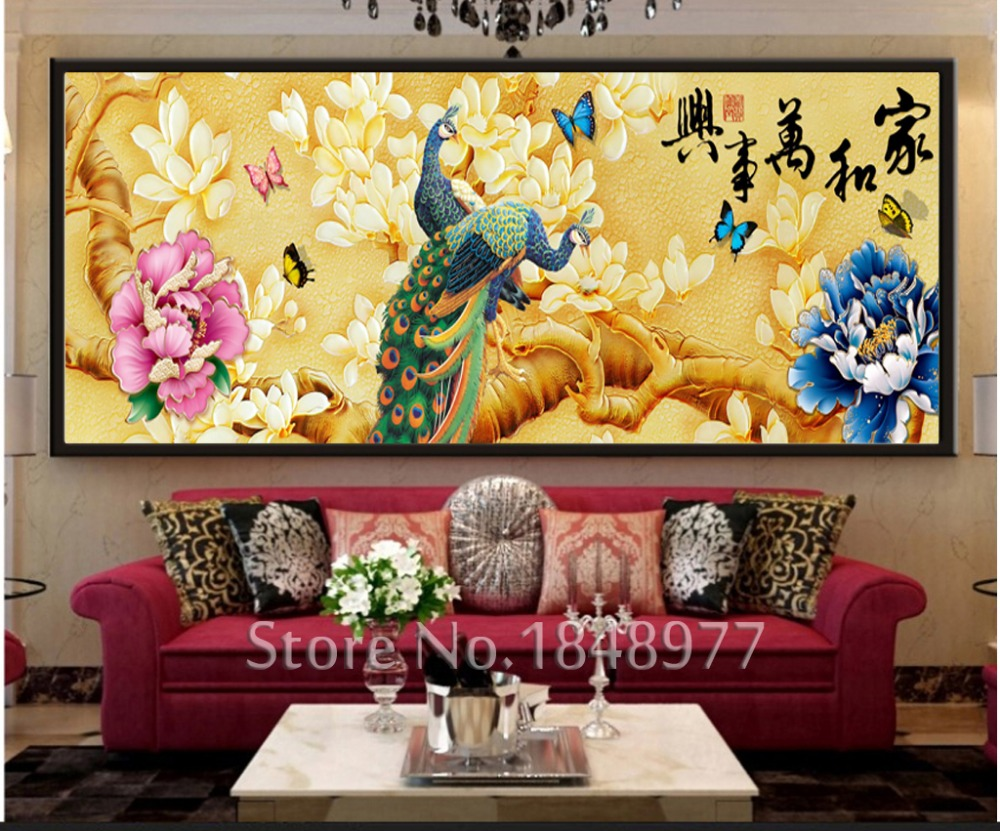 Large Modern Chinese Calligraphy Painting Animal Peacock Landscape ...