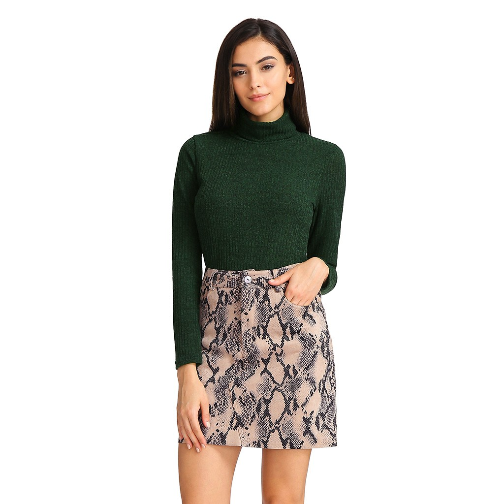 Womail Women skirt Summer Fashion  Sexy Snake Print Skirt Elastic Suede Zipper Button Short Mini Skirt Daily 2020 dropship f8