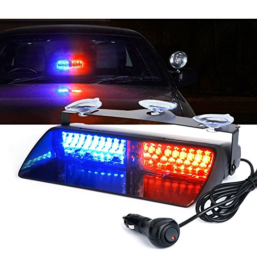 Car 16 LED Red/Blue Amber/White Signal Viper S2 Police Strobe Flash Light Dash Emergency Flashing windshield Warning Light 12v цена 2017