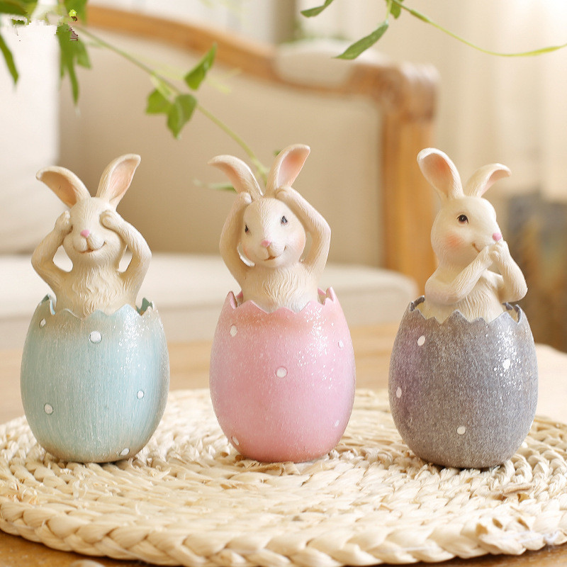 3pcs/lot Easter Rabbit in Egg No Say No Listen No see Rabbits Easter Decoration for Home ...