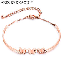 AZIZ BEKKAOUI Rose Gold Chain Link Butterfly Bracelets for Women Ladies Cute Animal Charms Woman Bracelets & Bangles Femme Gift(China)