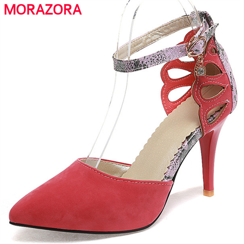 MORAZORA High thin heels shoes woman fashion single shoes wedding party women pumps pointed toe flock buckle big size 34-43 meotina high heels shoes women pumps party shoes fashion thick high heels pointed toe flock ladies shoes gray plus size 10 40 43