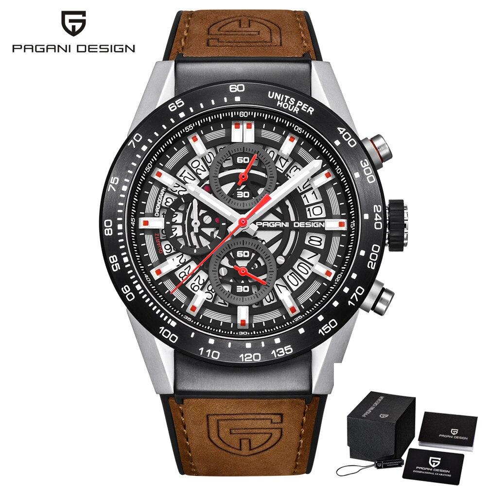 PAGANI DESIGN Fashion Skeleton Sport Chronograph Watch Leather Strap Quartz Mens Watches Top Brand Luxury Waterproof/PD-2768
