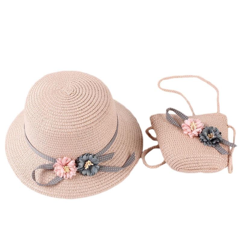 conjunto duas pecas para meninas chapeu de palha para bebes e criancas bone de sol para