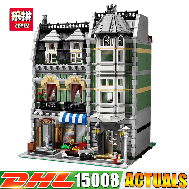 2018 DHL LEPIN 15008 2462PCS City Street Green Grocer Model Building Blocks Funny Educational Brick Toys Compatible 10190 lepin 15008 2462pcs city street green grocer legoingly model sets 10185 building nano blocks bricks toys for kids boys
