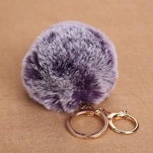 8CM Double Color Fluffy Faux Rex Rabbit Fur Ball Pom Keychain Women Bag Charms Man Trinket Gold Key Chain Wedding Party Gift