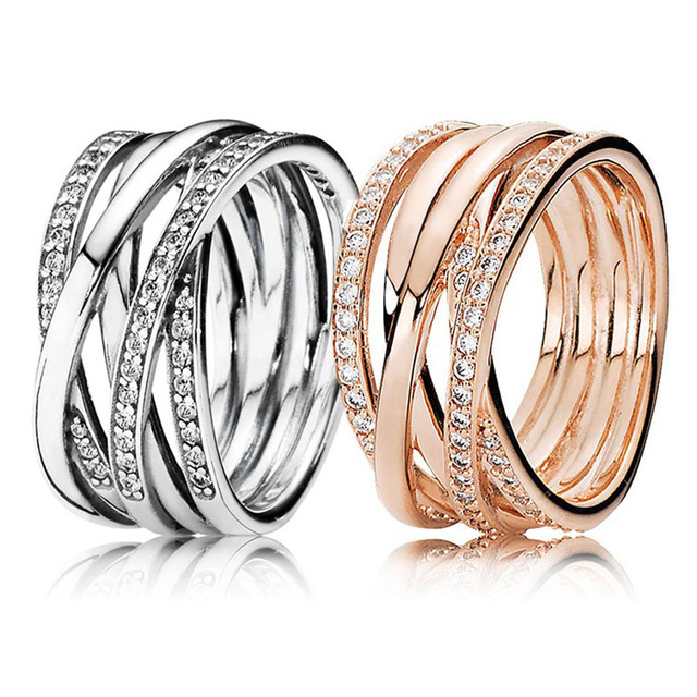df263c449 30% 925 Silver Rose Gold Entwining Rings With Crystal For Women Wedding  Party Gift Fine