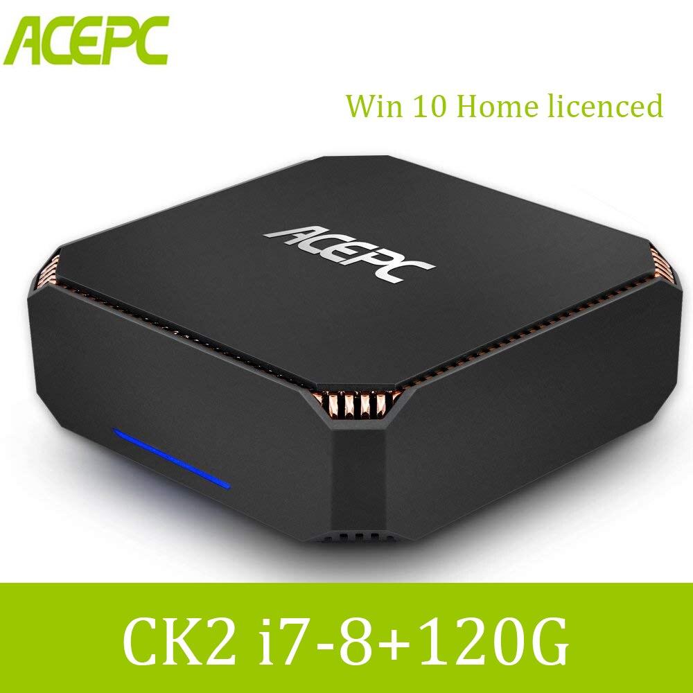 ACEPC CK2 Mini PC Intel Core i7 7500U Windows 10 Home licenced 8GB DDR4 120GB SSD Ethernet/4K/WiFi Built in Fan Desktop Computer