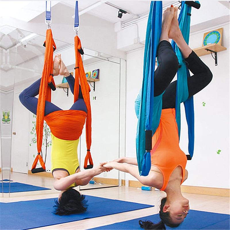 Yoga hamac balançoire Parachute tissu Inversion thérapie Anti-gravité haute résistance décompression hamac Yoga Gym suspendu 6 prise