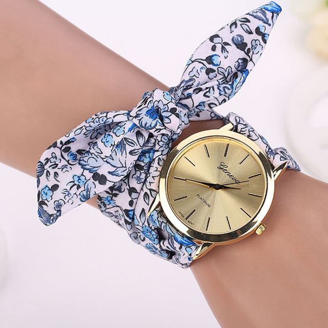 7 Colors Ladies Flower cloth wrist watch fashion women dress watch high quality