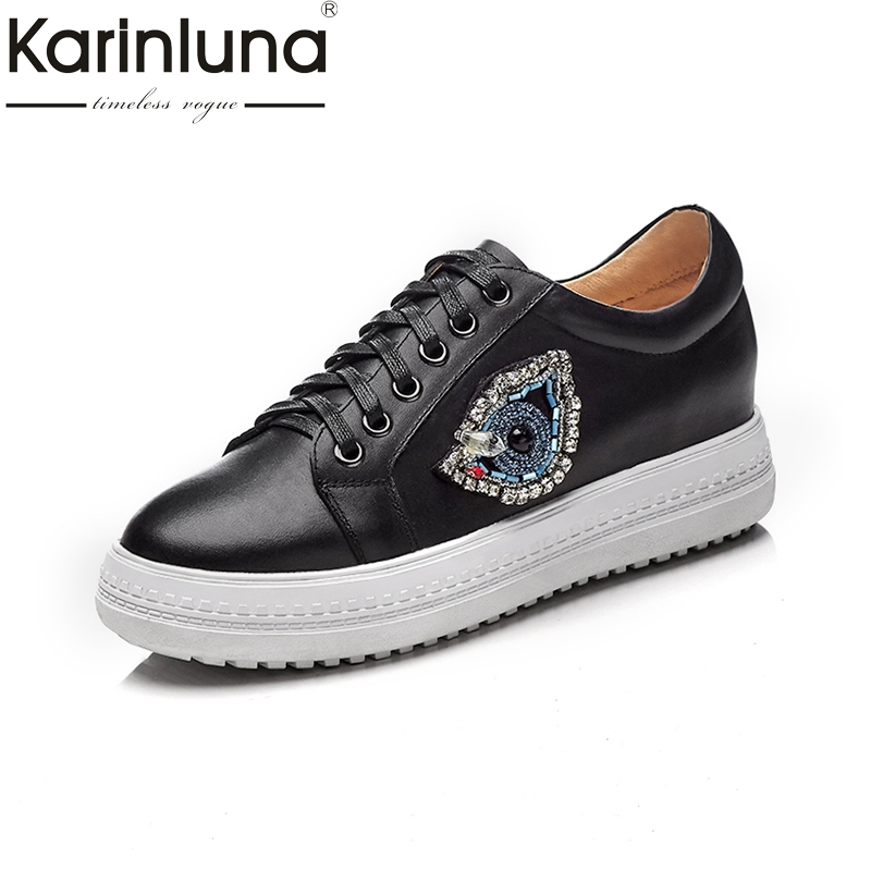 KARINLUNA cow leather Women Flats Vintage Lace Up Thick Platform Shoes fashion Woman Leisure Loafers black white Spring Shoes xiaying smile woman sneakers shoes women flats spring summer thick sole embroider rose lace up black white student women shoes