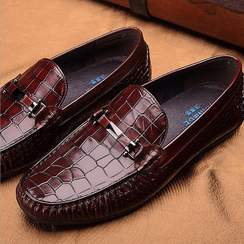 Men's Dress Leather Shoes Genuine Leather Slip On British Round Toe Men Flats Shoes Wedding Men Luxury Brand Loafers Oxfords british slip on men loafers genuine leather men shoes luxury brand soft boat driving shoes comfortable men flats moccasins 2a