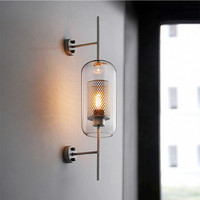 Nordic Designer Industrial Wall Light Vintage Creative Concise Glass Light Kitchen Restaurant Loft Light Free Shipping