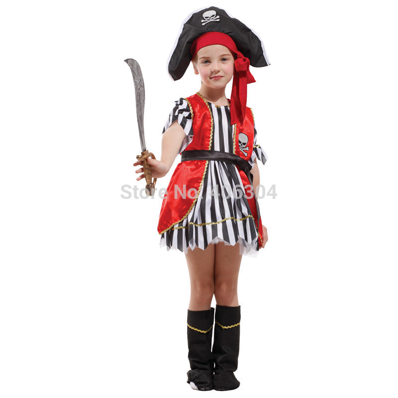 413b6713c67d Free shipping,halloween party dress up costume children girl pirate dress  costume full set hat dress,vest,boots cover-in Girls Costumes from Novelty  ...