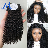 Missblue Afro Kinky Curly Virgin Hair 3 / 4 Bundles Brazilian Hair Weave Bundles 100% Remy Human Hair Extensions Natural Color