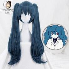 Peluca de Cosplay Ghoul Yonebayashi Saiko de Tokyo, largo ondulado, pelo sintético con doble Clip en coletas