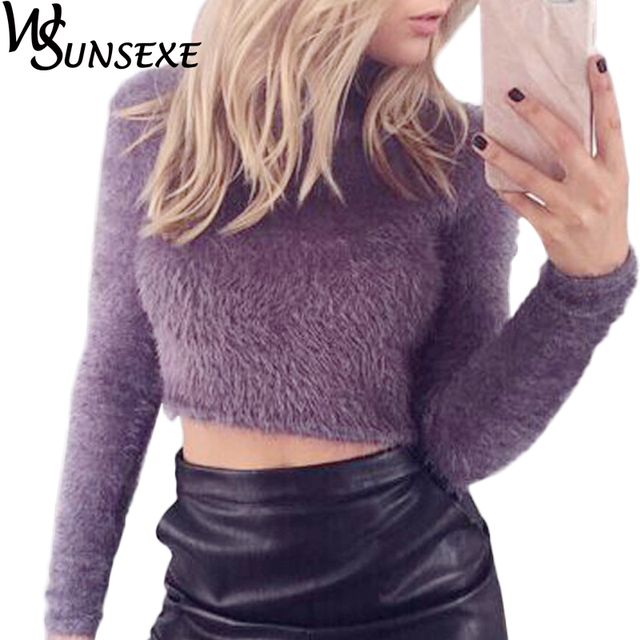 ca694dd5e205 Women Fashion Sweaters Autumn Casual Knitted Fluffy Jumper Crop Top Turtle  Neck Long Sleeves Mohair Pullover Knitwear Sweater