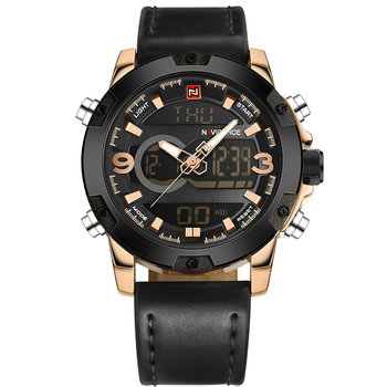 NAVIFORCE Men's Luxury Dual Time Display Waterproof Calendar Chronograph Leather Quartz Watches 5