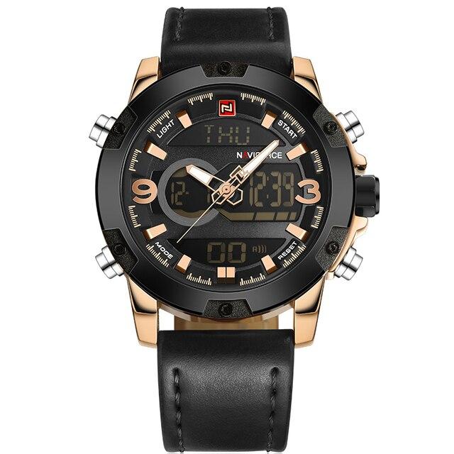 NAVIFORCE Men's Luxury Dual Time Display Waterproof Calendar Chronograph Leather Quartz Watches 5