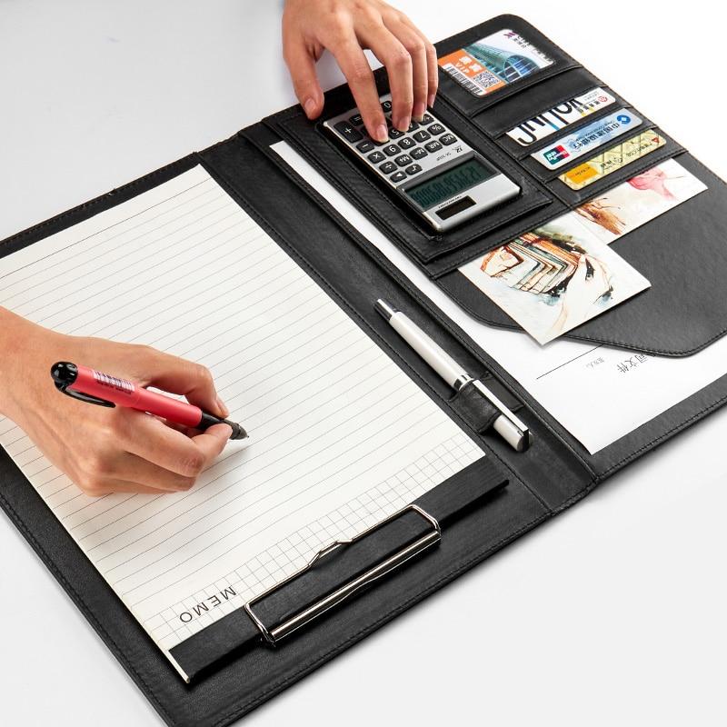 A4 Professional Office Business Classical File Folder Portfolio Executive With Clip Board Calculator Leather Document Organizer