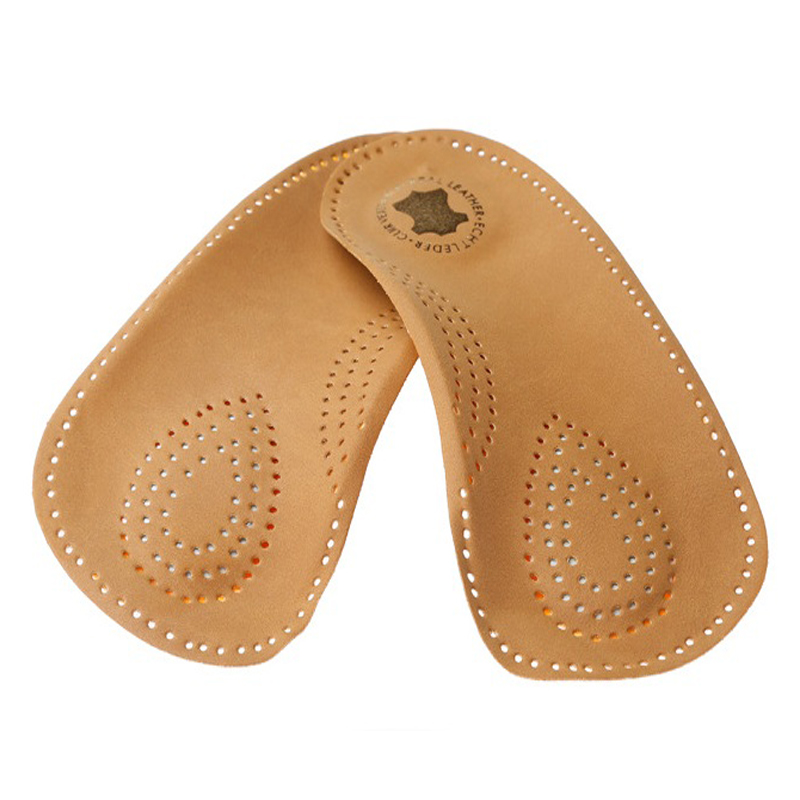 d59a230624 2 pairs New Style 3/4 length orthotic leather insole Half arch support  orthopedic insoles