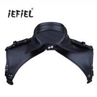 IEFiEL Fashion Men Odzież Bielizna Faux Leather Dekolt Regulowany pas Piersiowy Lapel Bondage Ciała Kostium z Zatrzaski