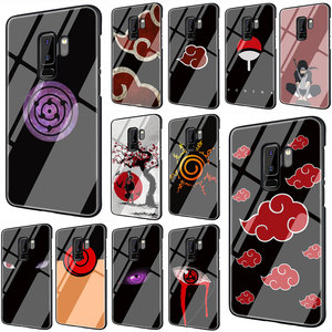 Anime Naruto Tempered Glass TPU Black Cover Case for Galaxy S7 Edge S8 S9 Plus S10 Note 8 9 10 A10 20 30 40 50 60 70(China)