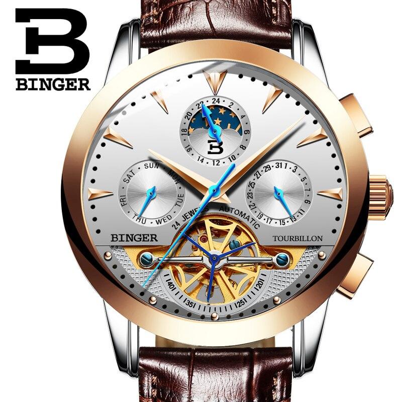 Tourbillion Mechanical Wristwatches Switzerland luxury Men's watch BINGER brand Sapphire Genuine Leather Strap Clock B1188-10