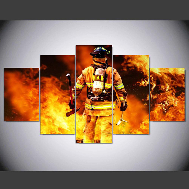 Canvas Living Room Pictures Home Art Modular Poster 5 Panel Firefighter  Hero Fireman Painting Wall Frame