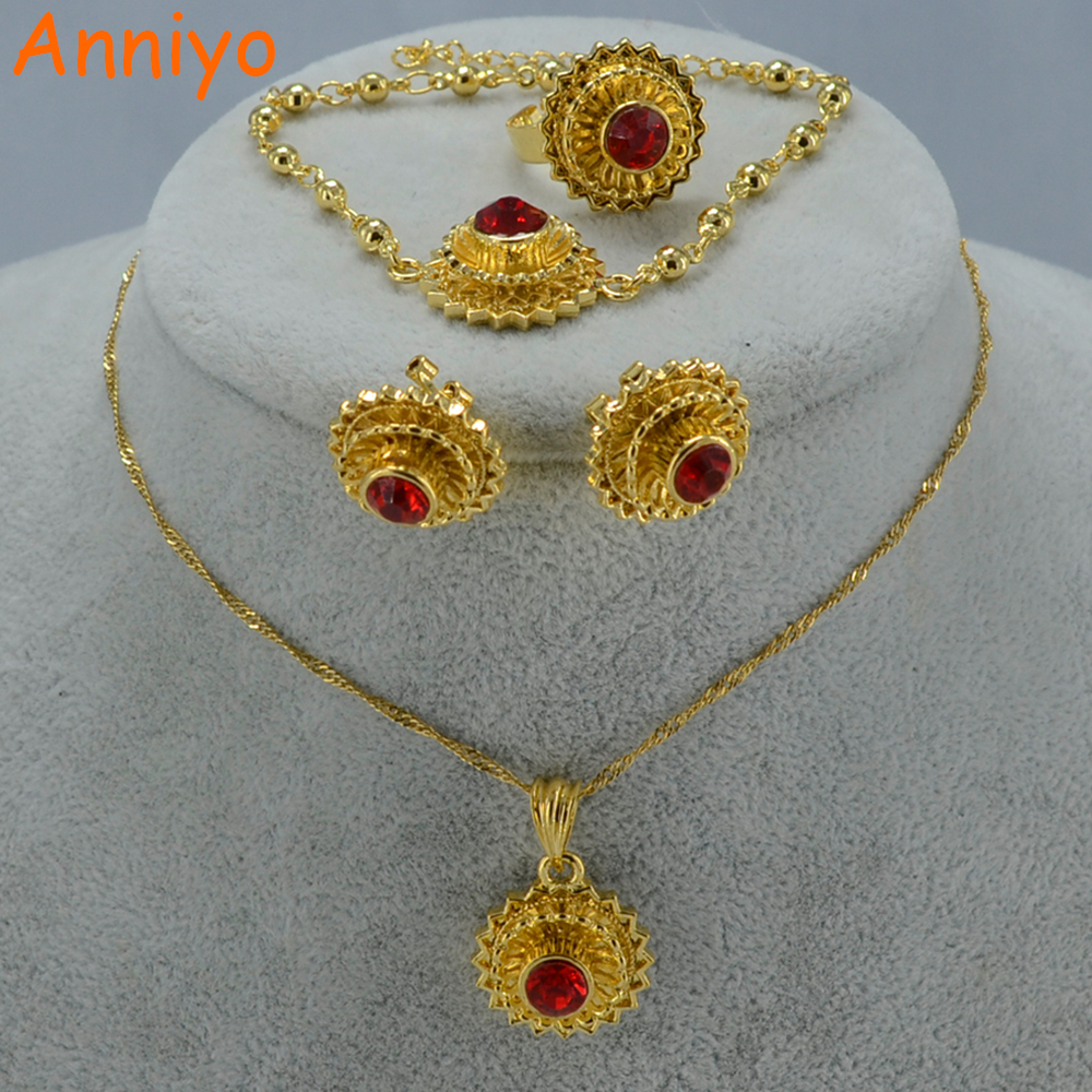 Anniyo Ethiopian Wedding Jewelry Set Pendant Necklace Earrings Ring Bracelet Women Gold Color Eritrea Gift