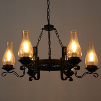 American Vintage Iron Restaurant Creative Chandelier Light Norbic DIY Home Deco Cafe Retro Glass E27 Bulb