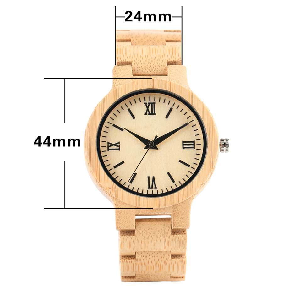Bamboo zebra wood watch roman numerals dial ladies watch14