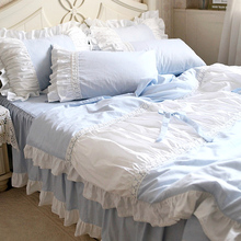 Lace ruffle 100% cotton cute blue bed sets,girl full queen king zakka style lovely bedclothes pillow case bed skirt quilt cover