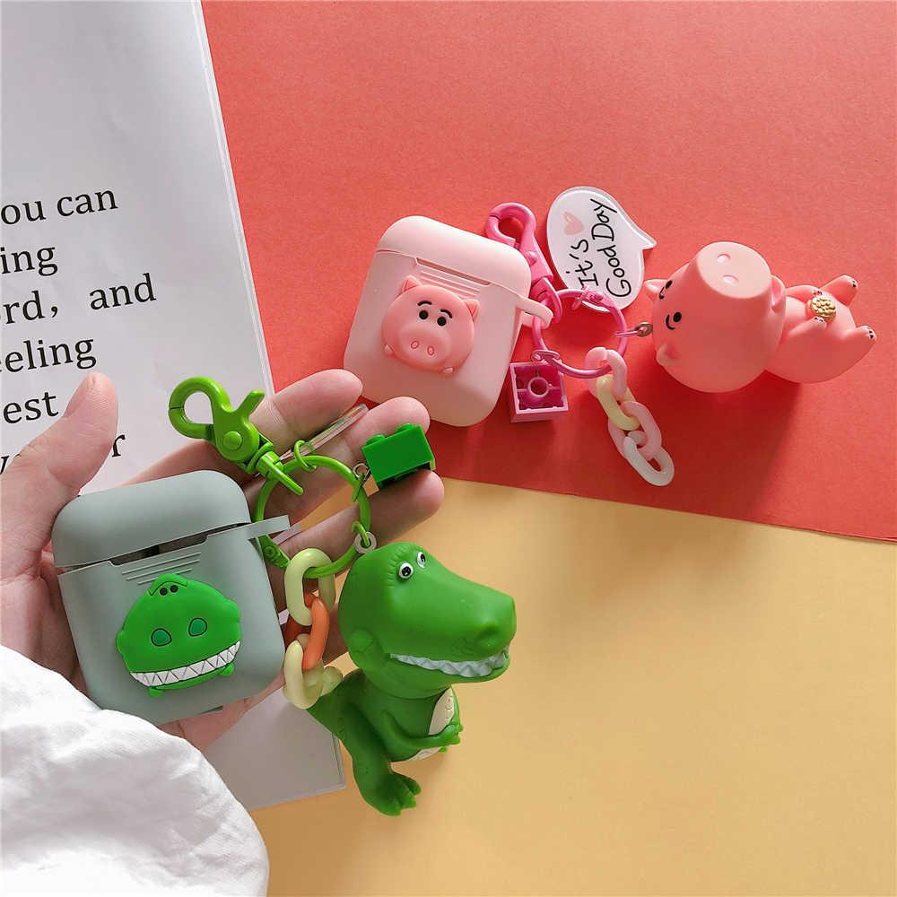 Bonito Toy Story Rex O Dinossauro Verde Casos de Silicone Para O Fone de Ouvido Bluetooth Maçã Airpods Hamm Porco Capa de Ar Vagens 2 acessorios