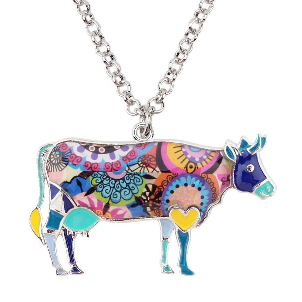 Bonsny Alloy emalia Floral Bull bydło krowa naszyjnik łańcuszek wisiorek dla kobiet dziewczyn Lady Farm biżuteria dla zwierząt hurtowych akcesoria