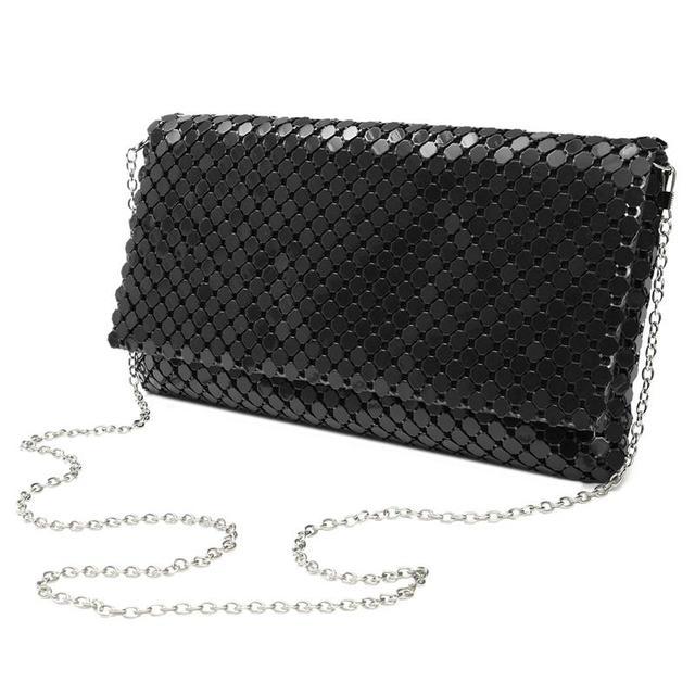 AEQUEEN 12 Colors Women Day Clutches Evening Bag Aluminum Mesh Envelope Flap Bags Sequined Long Chain Handbags Korean Fashion