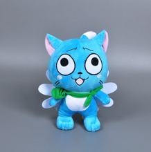 30CM Anime Fairy Tail Happy hold fish plush toy Cartoon Naz cat Cosplay stuffed doll kawaii blue cat super wings kids toys Gift