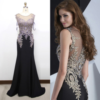 Mermaid Evening Dress 2019 New Stylish Appliques Gold Embroidery Illusion O Neck Prom Dress Long Evening Gowns Party Dresses